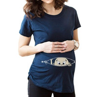 Summer Hot Sale Women's Fashion Black Curious Baby Boy Printed Pregnant Maternity Pregnancy Clothes Tee T-Shirt-trt = 1946386116