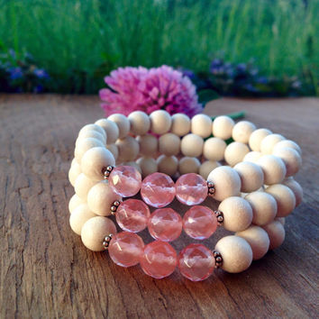 Mala Bead Bracelet, White Wood & Cherry Quartz, Sterling Silver Accents, Handmade, Intrinsic Journeys, Yoga Inspired Jewelry, Crystals