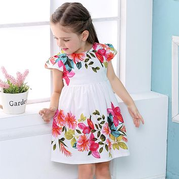 Summer girls Children Dresses Clothing kids print flowers short sleeve Dress