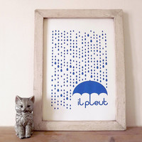 Rain Screenprint, Rain Illustration, Quote Poster, French Print, French Quote Print, Type Print, Typography, il pleut A3 Screenprint in Blue