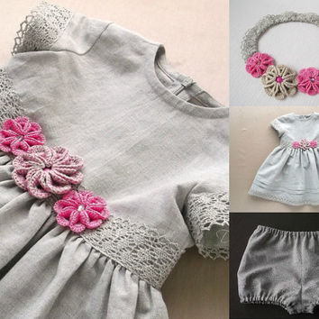 Grey & pink linen flower girls dress headband bloomers set 12 to 24 month party gown