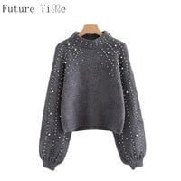 Future Time Pearl Beaded Rib Knit Jumper Winter Womens Pullover Sweaters Grey Stand Collar Long Sleeve Tight Sweater