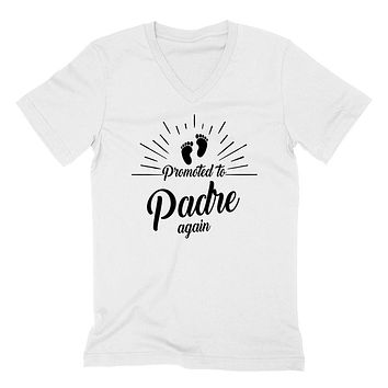 Promoted to padre again   new daddy father o be pregnancy announcement gift for dad daddy father  V Neck T Shirt