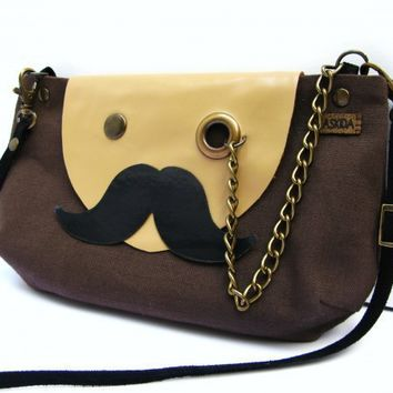 piiqshop - Market Place - VEGAN Mr. Mustache with Monocle Brown Cotton Cross Body Shoulder Bag or Clutch Purse with Adjustable Detachable Black Faux Suede Strap