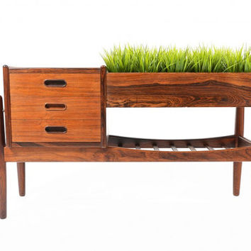 Danish Mid Century Modern Arne Wahl Iversen Rosewood Entry Chest with Planter