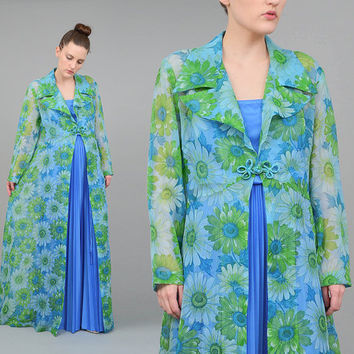 60s Sheer Floral Jacket Full Length Kimono Maxi Dress 1960s Long Duster Jacket Blue Green Medium M