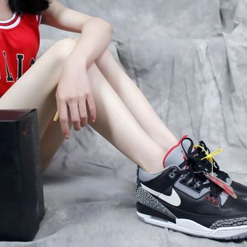 "[ Free Shipping ]Nike Air Jordan 3 Retro JTH NRG AV6683-001""Black Cement""  Basketball Sneaker"