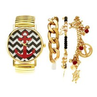 Gold Nautical Watch & Bracelets - 4 Pack by Charlotte Russe