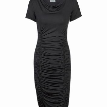 Cowl Neck Ruched Draped Dress Fashion Black Women Work Dress Bodycon Business Office Elegant Stretch 2016 High Quality Summer