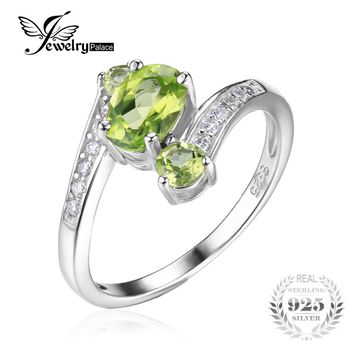 JewelryPalace 925 Sterling Silver 1.1ct Natural Green Peridot 3 Stone Anniversary Ring Women Party Fine Jewelry 2016 Brand New