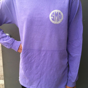 Comfort Colors long sleeve t with glittery monogram