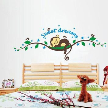 ONETOW 2015 Brand 2014 New fashion wall sticker Sweet Dreams Monkey Removable Vinyl Decal Mural Home Decor Wall Sticker Home Decor