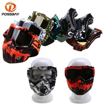 POSSBAY Motorcycle Ski Snowboard Eyewear Dustproof Windproof UV Protection Motorcycle Goggles Helmet With Face Mask Glasses
