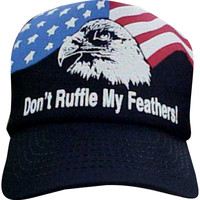 "Men patriotic hat ""Don't Ruffle My Feathers"" Eagle American flag"