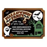 Halloween Party Fun Ghost & Haunted House Invite