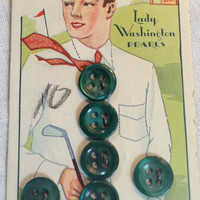 Lady Washington, Pearl buttons, golfer buttons, set of buttons, button set, button card, carded buttons, new old stock, green Pearl, green