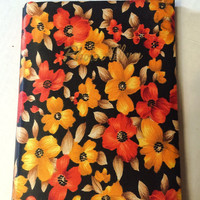 Vintage Mod Floral Fabric Covered Scrapbook Photo Album Japan Orange Flower Power Daisy 1960s