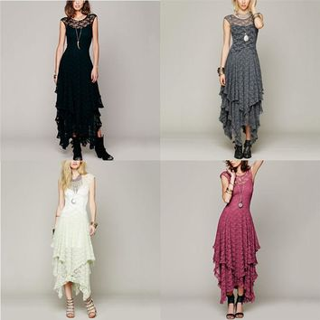 New Boho Women Casual Mesh Hippie Embroidery Sheer Lace Ruffled V-back Dresses