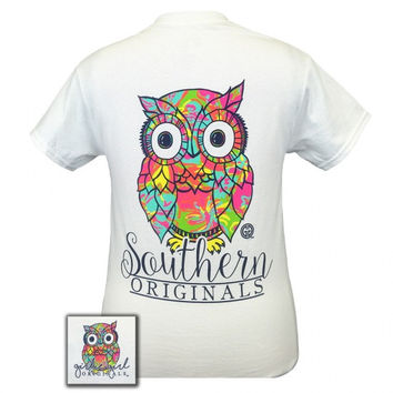 Girlie Girl Originals Southern Preppy Owl White T-Shirt