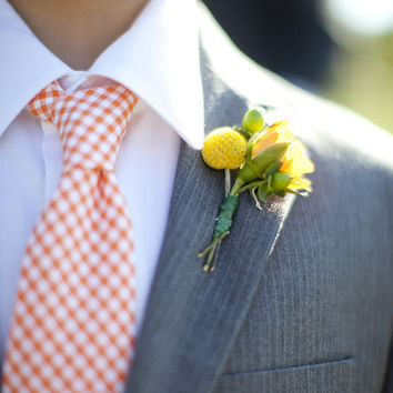 Men's Tie Orange Gingham Necktie for Children or Men Fall Wedding