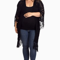 Black-Open-Knit-Fringe-Plus-Size-Long-Cardigan