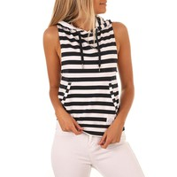Womens Summer 2018 Fashionable Striped Sexy Top Women Sleeveless Hooded Streetwear Tank Top Loose Casual T Shirt Tops XY295