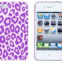 Purple Leopard Embossed Hard Case for Apple iPhone 4, 4S (AT&T, Verizon, Sprint) - Includes DandyCase Keychain Screen Cleaner [Retail Packaging by DandyCase]