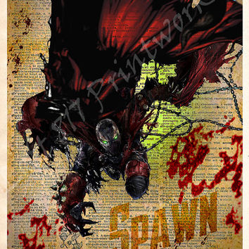 Spawn - Splatter Art print, Vintage Silhouette print - Super Hero Art - Dictionary print art