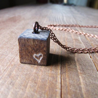 Wood Cube Necklace, Engraved Heart