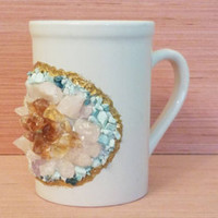 REAL Gemstone Coffee Mug / Citrine Crystal & Quartz / 16oz Druzy Geode Mug Coffee Cup - Gem Mug Healing Stones Cup Holiday Gift Boho Art