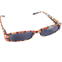Mad Plaid Sunglass Readers - Reading Sun Glasses with Coordinated Case - Chic Plaid Pattern and Colors (Tangerine, +2.5)