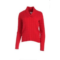 Charter Club Womens Cable Knit Ribbed Trim Pullover Sweater