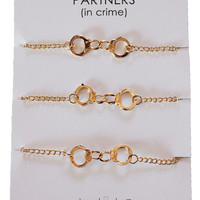Set of 3 Gold plated Handcuffs Bracelets for Best Friends aka Partners in Crime bracelet  BFF jewelry Gift ideas for her - stocking stuffer