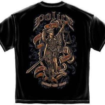 New Police SCALE OF JUSTICE   T SHIRT Serve and Protect
