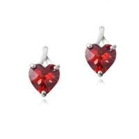 925 Silver 2.5ct Created Ruby Briolette-Cut Heart Drop Earrings