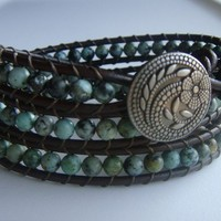 African Turquoise Bead and Leather Wrap Bracelet