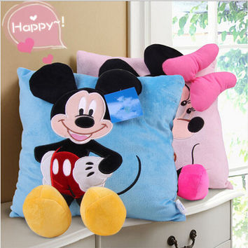 3D Mickey Mouse and Minnie Mouse Plush Pillow Kawaii Mickey and Minnie Plush Toys Kids