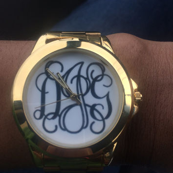 Gold Plated Custom Boyfriend Watch, Monogrammed Watch, Custom Metal Watch, Personalized Watch - 64 colors for text & background