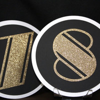 Art Deco Table Number Cards in Gold, Black, and White - Roaring Twenties Weddings