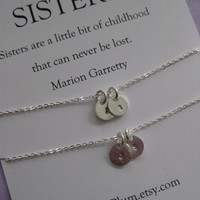 Sisters jewelry // Sisters necklace // Two sisters jewelry. Delicate sterling silver // Inspirational Gift