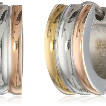 Stainless Steel Three Tone 18 Karat Gold and 18k Rose Gold Plated Huggies Earrings