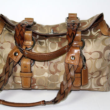 Coach Chelsea Optic Signature Khaki Satchel #10995