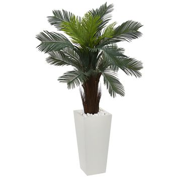 Artificial Flowers -4.5 Foot Cycas In White Tower Planter Artificial Plant