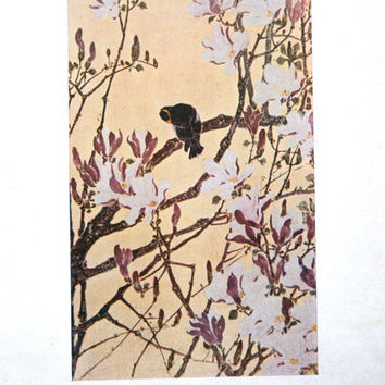 Japanese Print Flowers Bird Vintage Japanese Magazine Insert Balmy Spring Weather