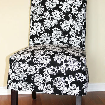 Black and White Baroque Parsons Chair Slipcover