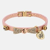 Betsey Johnson 'Iconic Pinkalicious' Bow Faux Leather Bracelet | Nordstrom