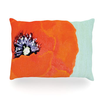 "Christen Treat ""Vintage Poppy"" Orange Flower Oblong Pillow"