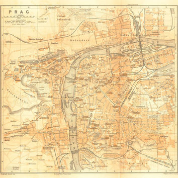 1907 City Map of Prague, Czech Republic,  Karl Baedeker Street Plan