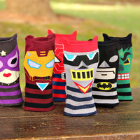 Boot Socks Women Socks Leg Warmer super hero Boot Socks Ladies Casual Cotton Socks Ankle sock