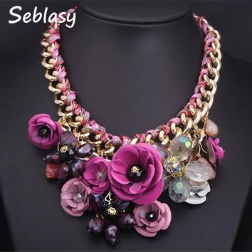 Seblasy Collier Chunky Gold Color Chain Handmade Braided Crystal Flowers Necklaces & Pendants Statement Necklaces For Women